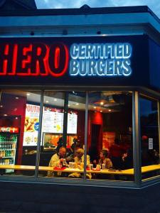 Hero Certified Burgers storefront