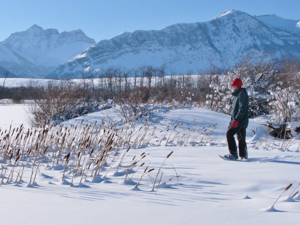 A solitary figure enjoys the peace and tranquility while snowshoeing in scenic Waterton Lakes National Park.