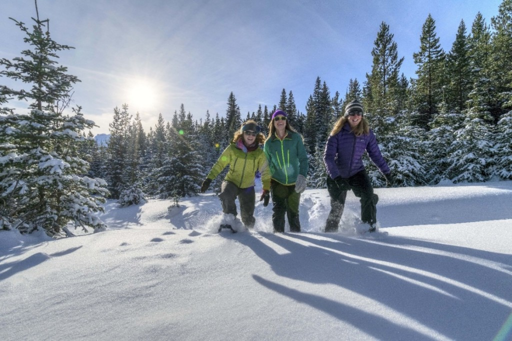 Using snowshoes to take on deep drifts, winter enthusiasts enjoy a day out in the sun and snow in Waterton Lakes National Park. Photo: Parks Canada.