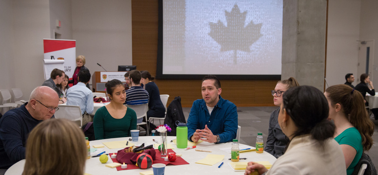 University of Calgary students participate in the inaugural imagiNation Cafe on Feb. 18. They discussed key themes about the future of Canada with table hosts Deborah Moynes-Keshen, Rita Egizii, Susan Mide Kiss, and Chancellor Robert Thirsk. Photo by Riley Brandt, University of Calgary