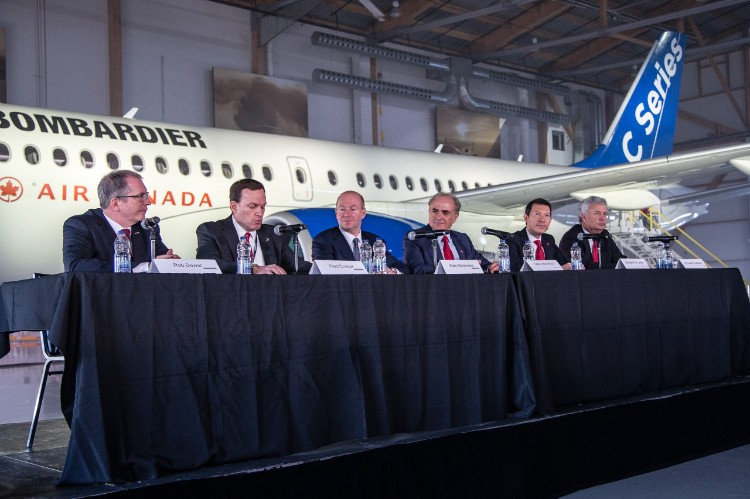 Air Canada and Bombardier executives at press conference in Montreal