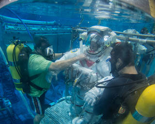 NASA astronaut Barry Wilmore trains for spacewalks in the Neutral Buoyancy Lab at the agency's Johnson Space Center in Houston. Credits: NASA