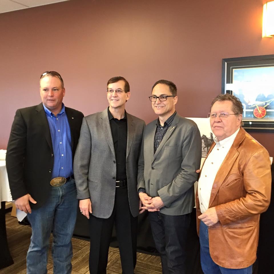 Bill West (President Alberta Community Thoroughbred Racing Association), Dan Gorman (General Manager, Evergreen Park), Joe Ceci (President of Treasury Board, Minister of Finance), Max Gibb (United Horsemen of Alberta and Rocky Mountain Turf Club)