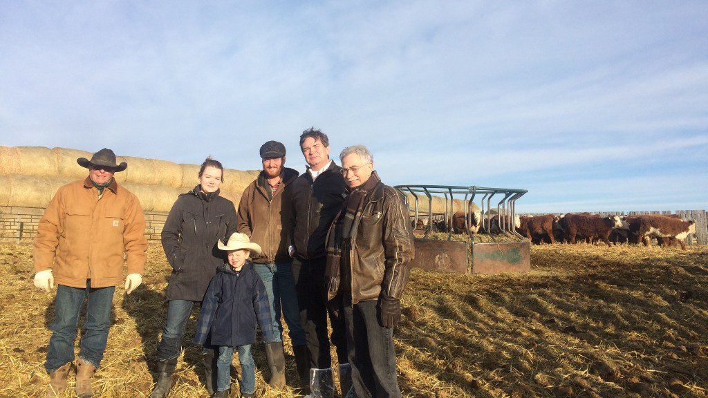 Agriculture and Forestry Minister Oneil Carlier and Medicine Hat MLA Bob Wanner, meet with producers affected by the bovine tuberculosis outbreak near Jenner, Alberta.