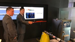 Minister Deron Bilous and Steven Koles, President and CEO of HiFi Engineering