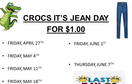 CROCS IT'S JEAN DAY FOR $1.00