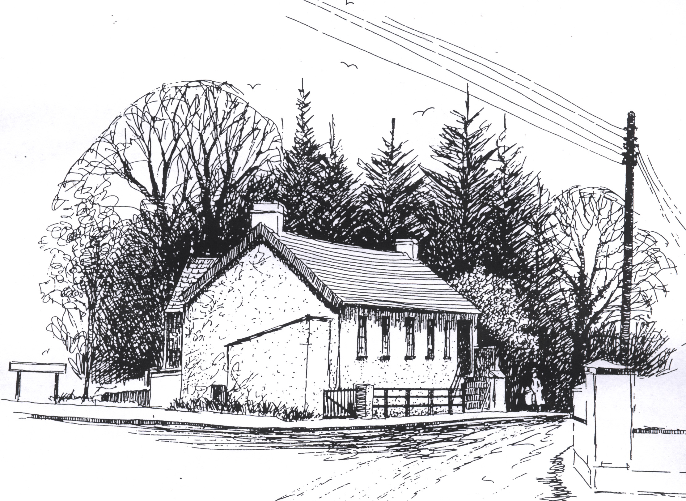 This sketch is by local artist Ronnie Hynds and shows the Gateway Building on the Gilford Road.