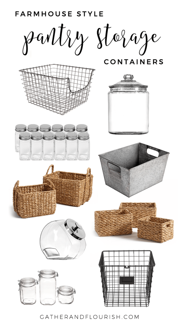 Farmhouse Style Pantry Storage shopping guide! Farmhouse style pantry. Pantry storage containers. Pantry organization. Storage bins and containers.
