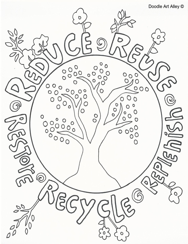 Recycle Bin Colouring Page