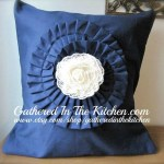 Navy Twill Ruffled Lace Flower Pillow Cover
