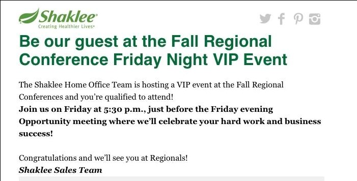 shaklee vip event