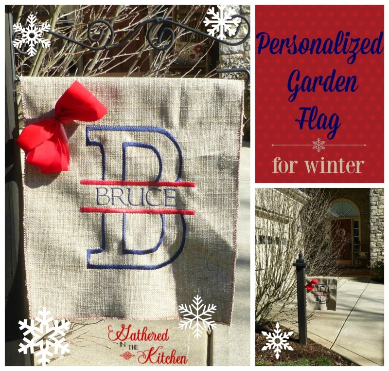 monogrammed garden flag collage