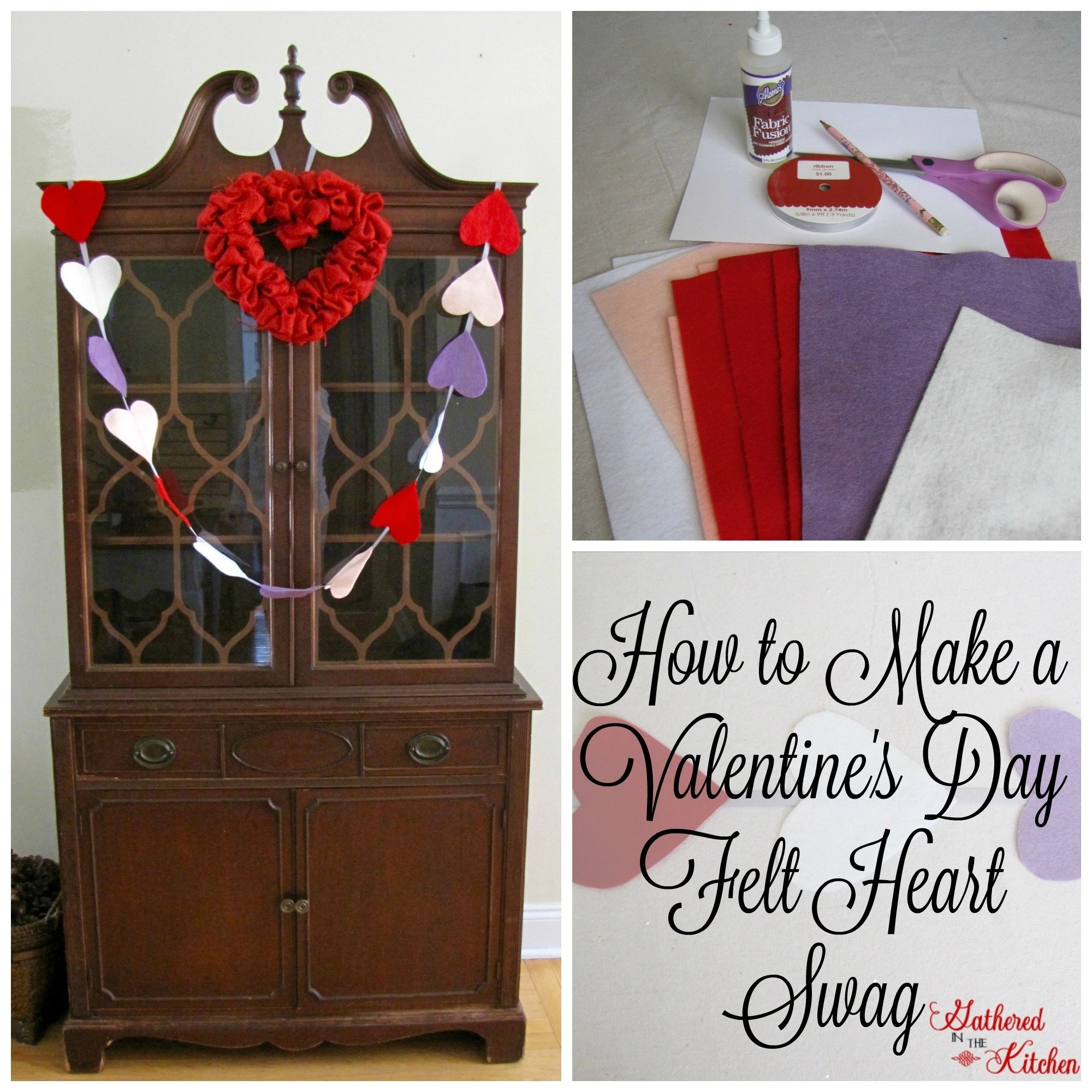How to make a valentine's day felt heart swag