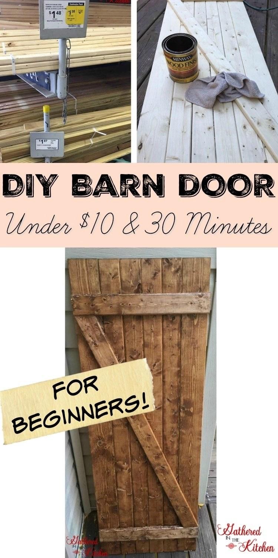 diy-barn-door  sc 1 st  Gathered In The Kitchen & DIY Barn Door Under $10 in 30 Minutes - Gathered In The Kitchen