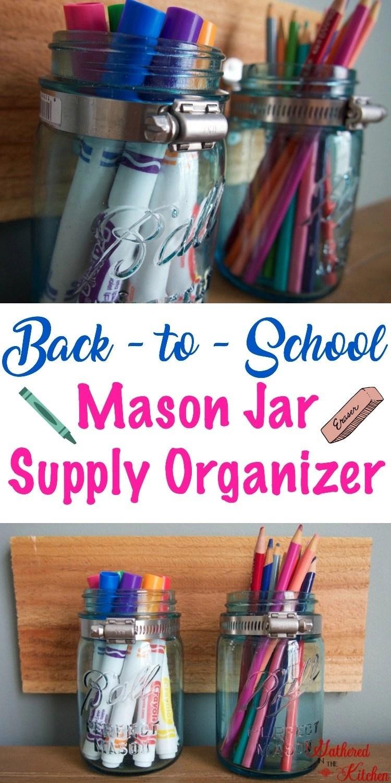 DIY Mason Jar Supply Organizer