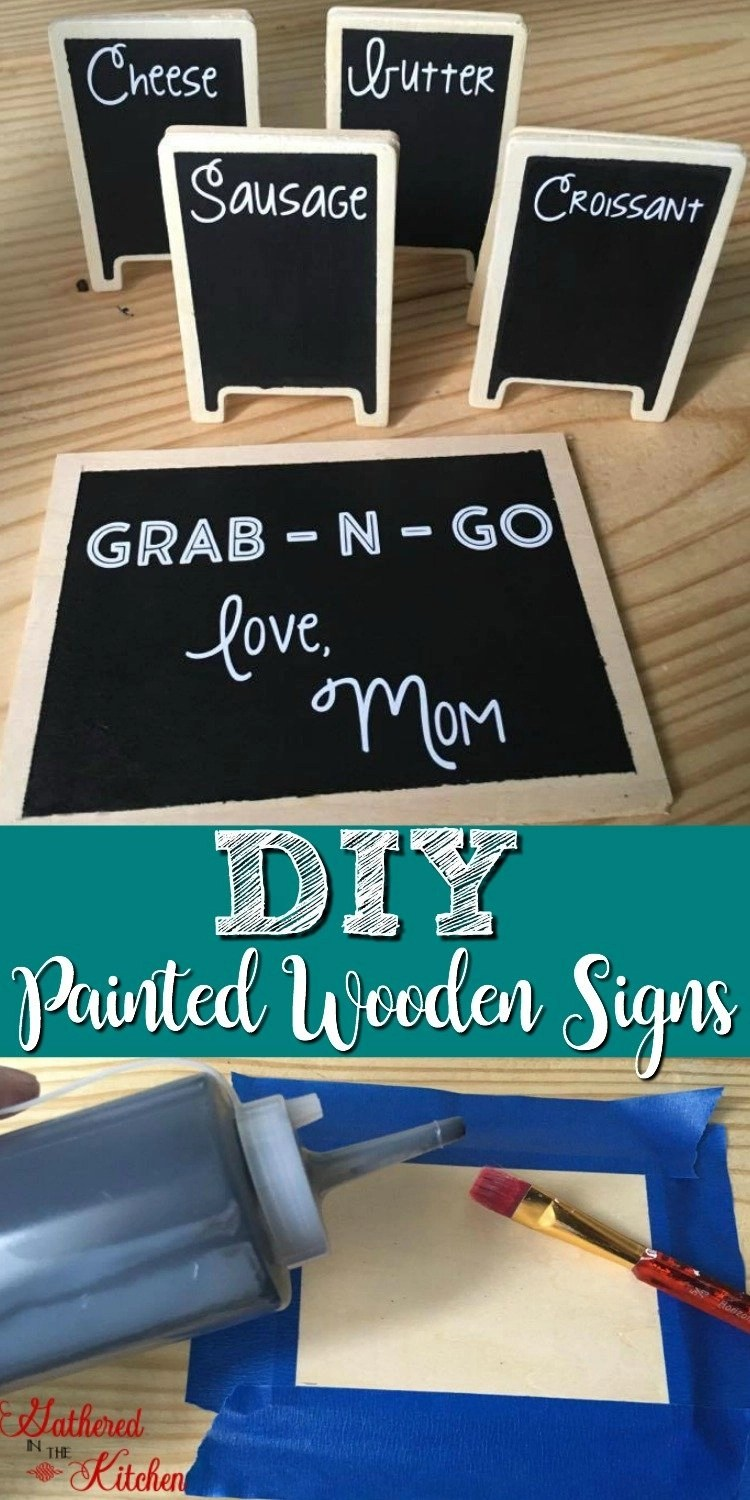 Diy Painted Wooden Signs Gathered In The Kitchen