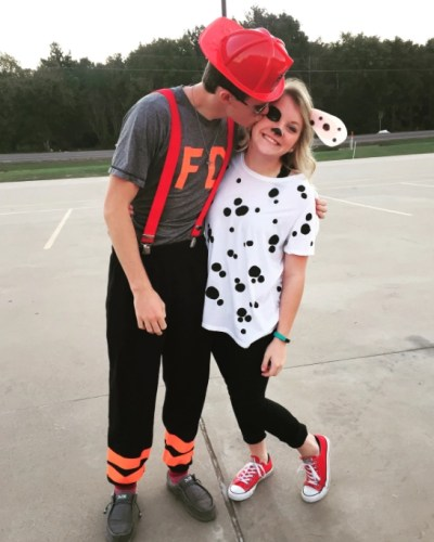 Couples Halloween Costumes: Firefighter & Dalmatian Dog