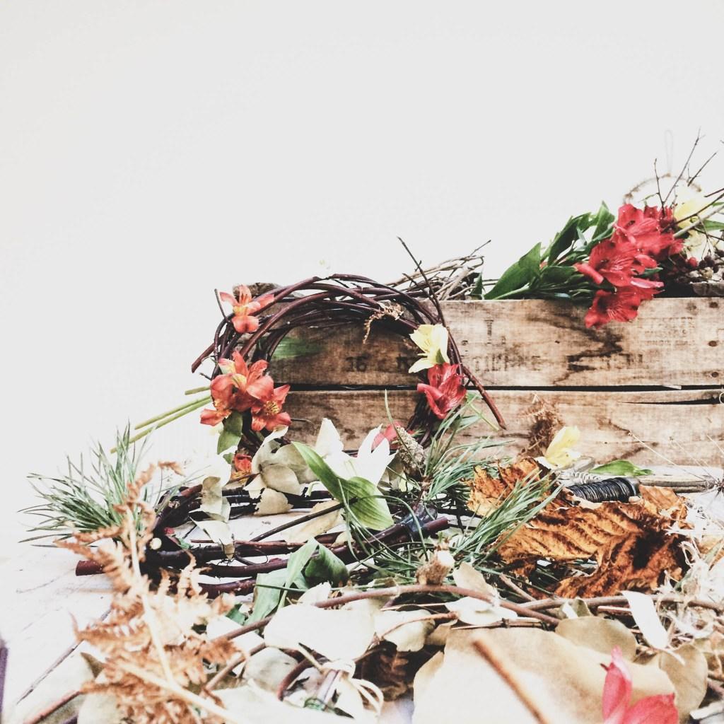Foraged Mini Wreath with kids