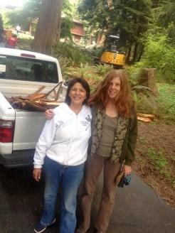 Roberta and I harvesting cedar bark