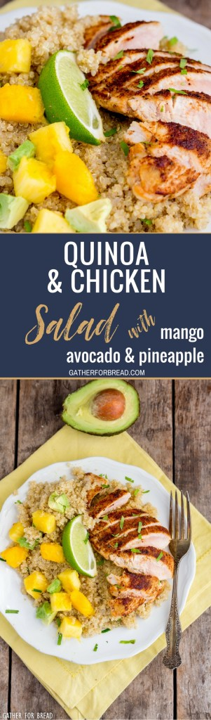 Blackened Chicken Quinoa Salad Pineapple Mango Avocado – Quinoa, skillet cooked chicken freshly chopped mango, avocado and pineapple with homemade vinaigrette. This healthy nutritious meal leaves you full and it's so good for you!
