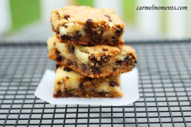 Chocolate chip cheese bars gatherforbread.com