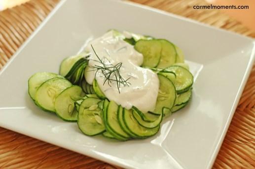 Cucumber salad with Greek yogurt  |gatherforbread.com