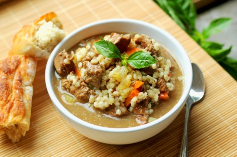 Beef barley Soup | gatherforbread.com