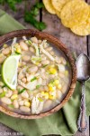 Chicken White Bean Corn Chili - You've got to try this white chicken chili with corn. This hearty recipe is perfect for dinner, easy to make and healthy too! Make this for the cold wintery nights!