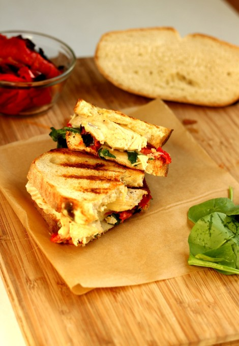 Chicken panini with Pepper Jack Cheese and Roasted Peppers