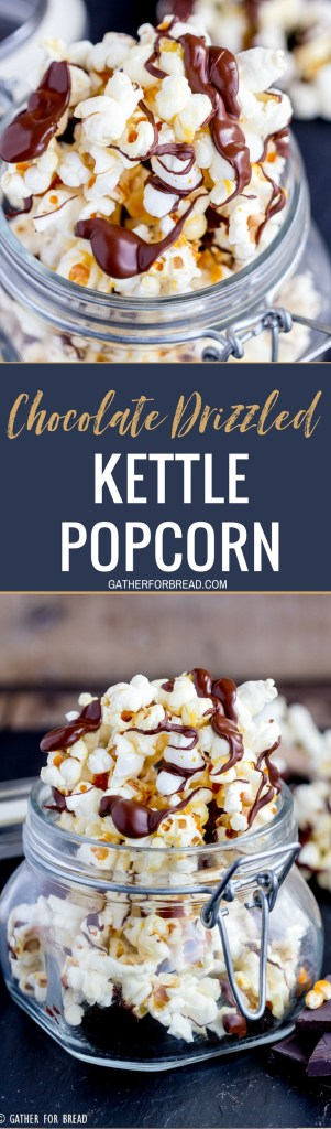 Chocolate Drizzled Kettle Corn - Simple kettle corn drizzled with milk or dark chocolate for an easy snack. Great for gifting and snacking. Homemade in minutes.