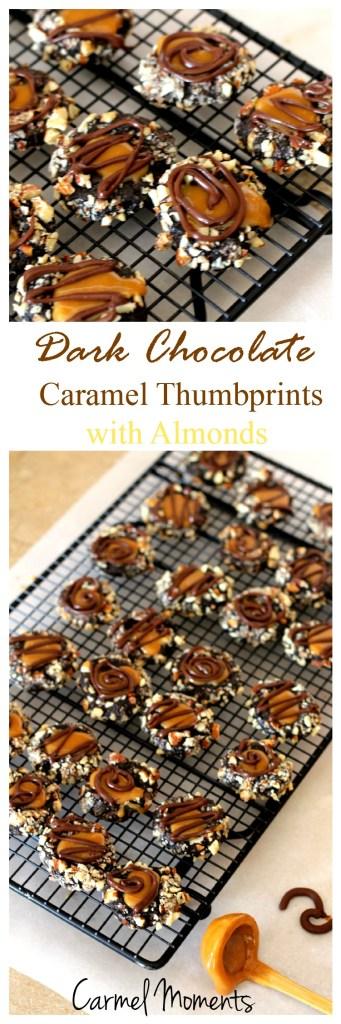 Dark Chocolate Caramel Thumbprints with Almonds
