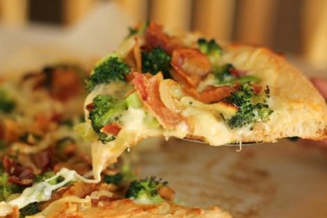Broccoli bacon cheddar pizza | gatherforbread.com