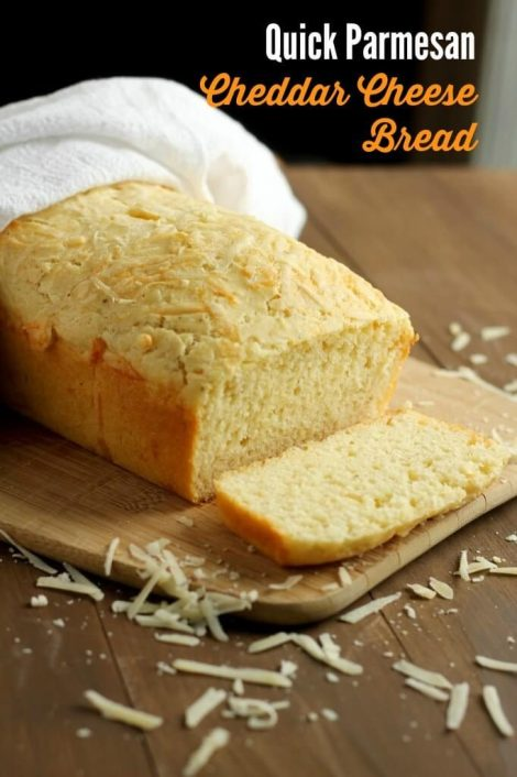 Quick, simple bread made with Parmesan and cheddar cheeses. The perfect addition to any meal. Serve alone or with honey or butter. It's delicate and tasty!