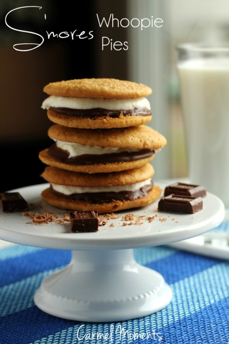 Smores Whoopie Pies - -  A knock off of the classic s'mores treats. These delicious cookie sandwiches are made with melty marshmallow and smooth chocolate. | gatherforbread.com