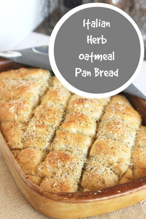 Italian Herb Oatmeal Pan Bread | Carmel Moments An easy all-in-one pan bread. Parmesan and Italian seasoning top it off nicely.