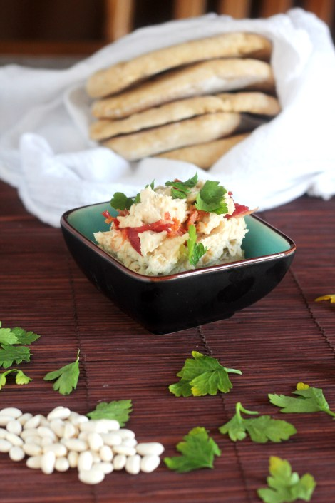White Bean Dip with Bacon - Super simple healthy dip mixed up in just minutes!   gatherforbread.com