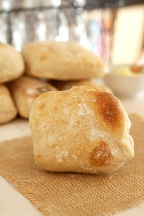 Artisan Ciabatta Rolls - Rustic handcrafted rolls that are full of holes, light and airy. Perfect crumb. Delicious rolls for sandwiches or the bread basket at the table.
