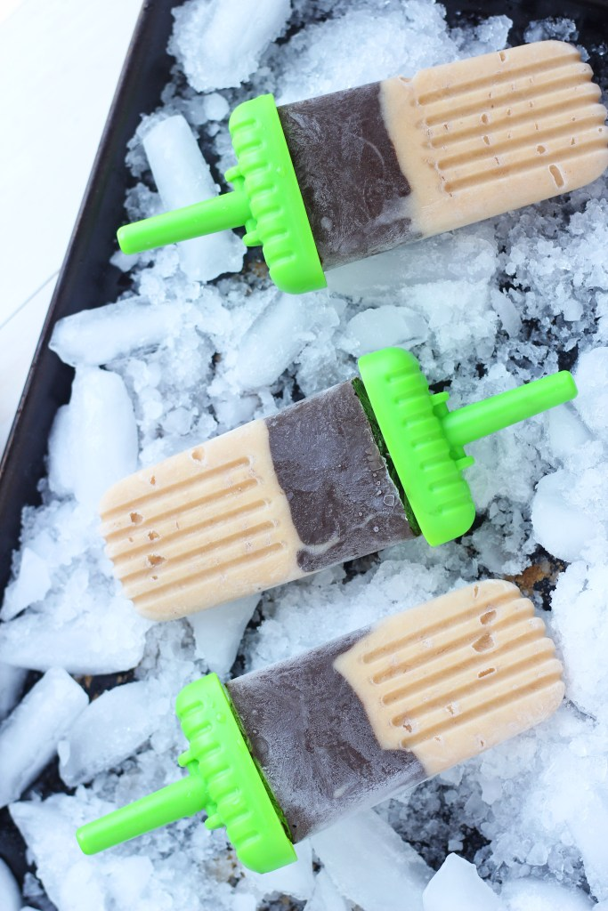Banana Chocolate Popsicles - Homemade fudgsicles made with milk, Greek yogurt and cocoa for a healthy DIY summer treat!