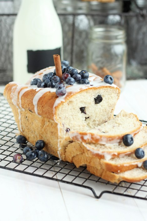 Blueberry Cinnamon Bread with Vanilla Glaze | Carmel Moments