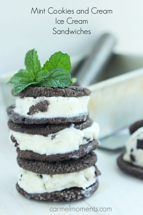 Fresh Mint Cookies and Cream Ice Cream Sandwiches | Carmel Moments
