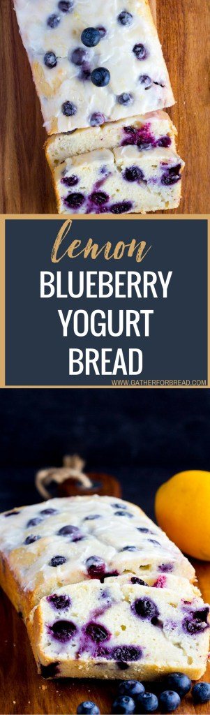 Lemon Blueberry Yogurt Bread - AMAZING Homemade moist lemon bread with fresh blueberries with a lemon glaze!! Greek yogurt makes this loaf a great quick bread to serve in the spring or summer.
