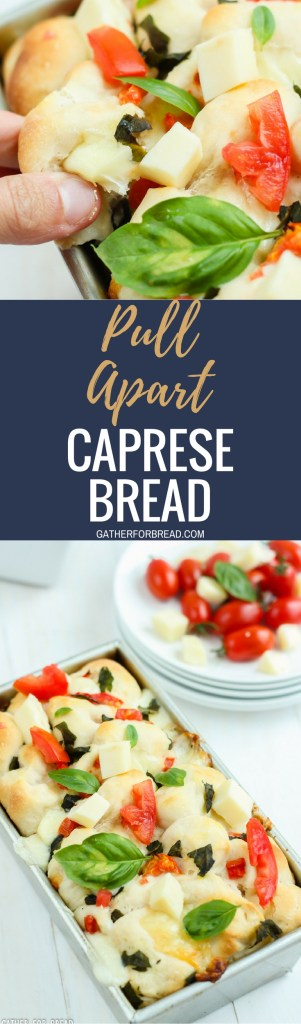 Pull Apart Caprese Bread - Pull apart yeast bread recipe stuffed with delicious fresh tomatoes, mozzarella, and basil. Homemade bite sized dough, perfect with salad or a great appetizer or starter.
