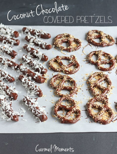 Coconut Chocolate Covered Pretzels | Carmel Moments
