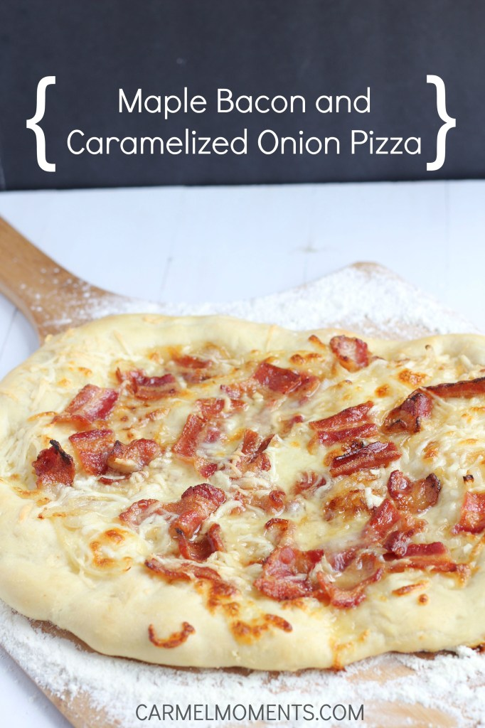 Maple, Bacon and Caramelized Onion Pizza - Fresh pizza with pure maple syrup, crisp bacon and caramelized onions on a bed of melty mozzarella and Romano cheeses. Savory and sweet with the perfect flavor.