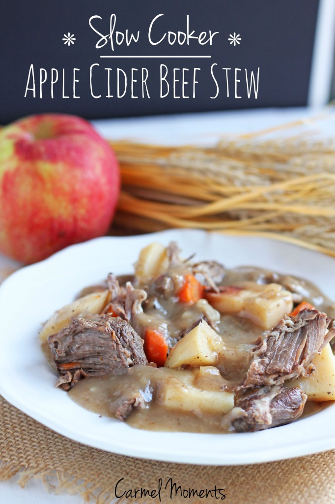 Slow Cooker Apple Cider Beef Stew - Easy crock pot stew combines the flavors of fall. Classic beef stew with a hint of apple is great comfort food.