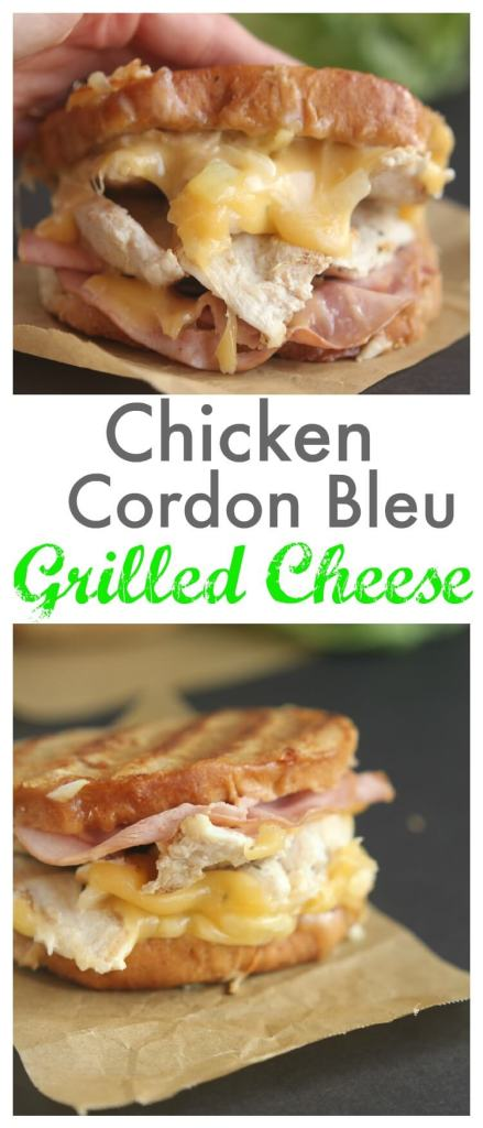 Chicken Cordon Blue Grilled Cheese - Family favorite with the best - ham, fresh grilled chicken and topped with melty smooth Swiss cheese. Hearty sandwich for lunch or dinner. || gatherforbread.com