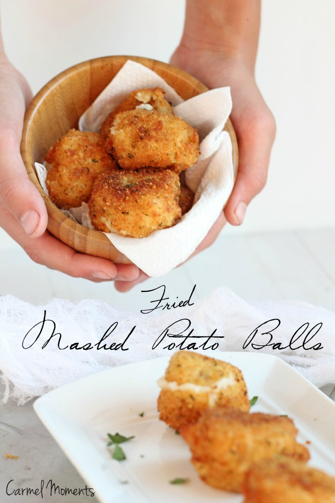Fried Mashed Potato Balls -- Perfect use for leftover mashed potatoes. Crunchy outside, creamy inside | gatherforbread .com