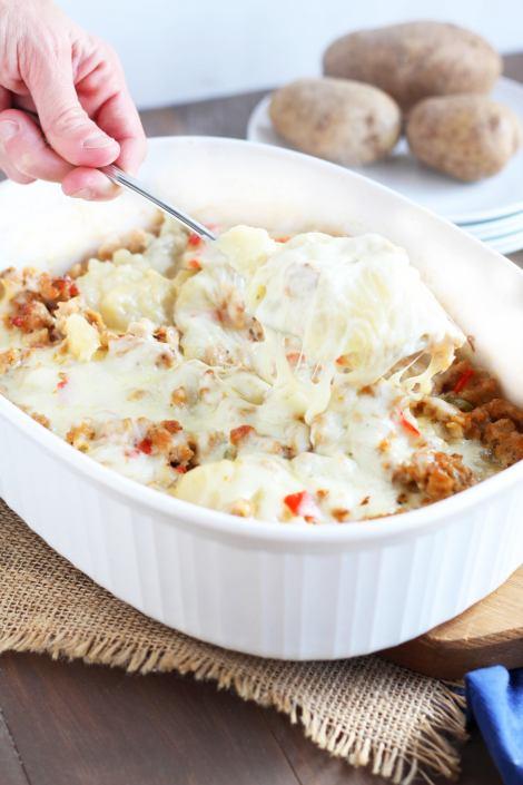 Cheesy Potato Sausage Casserole | gatherforbread.com