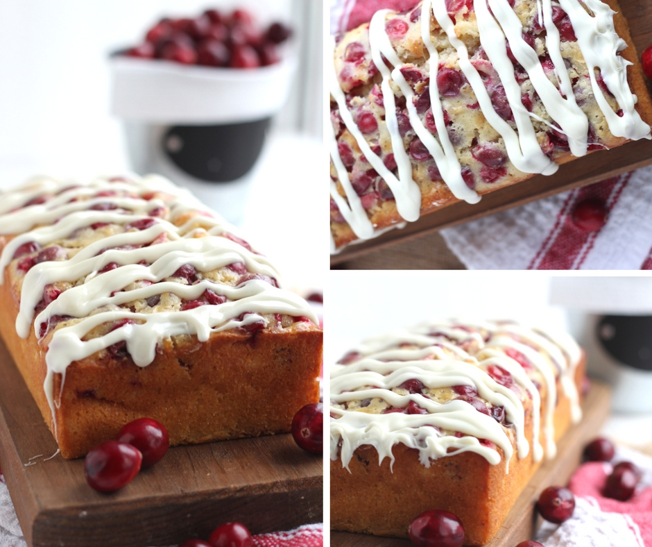Cranberry Bread with White Chocolate Drizzle -  Moist delicious loaf studded with cranberries, topped with white chocolate glaze. Perfect bread for Christmas brunch or to give as gifts for the holidays.