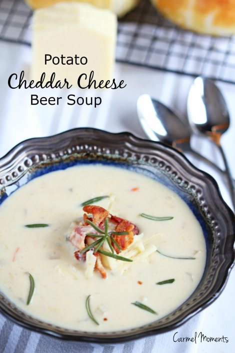 Delicious creamy soup boasting flavor from beer, potatoes and cheddar cheese. A clear winner for dinner!